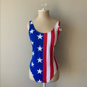 Pink Stars and Stripes Flag One Piece Swim Suit
